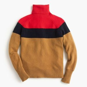 J. Crew Supersoft Colorblock Turtleneck Sweater